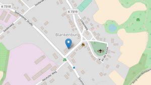Karte mit Standort Praxis Dr. Rainer Külker in Blankenburg / Uckermark (openstreetmap.org)